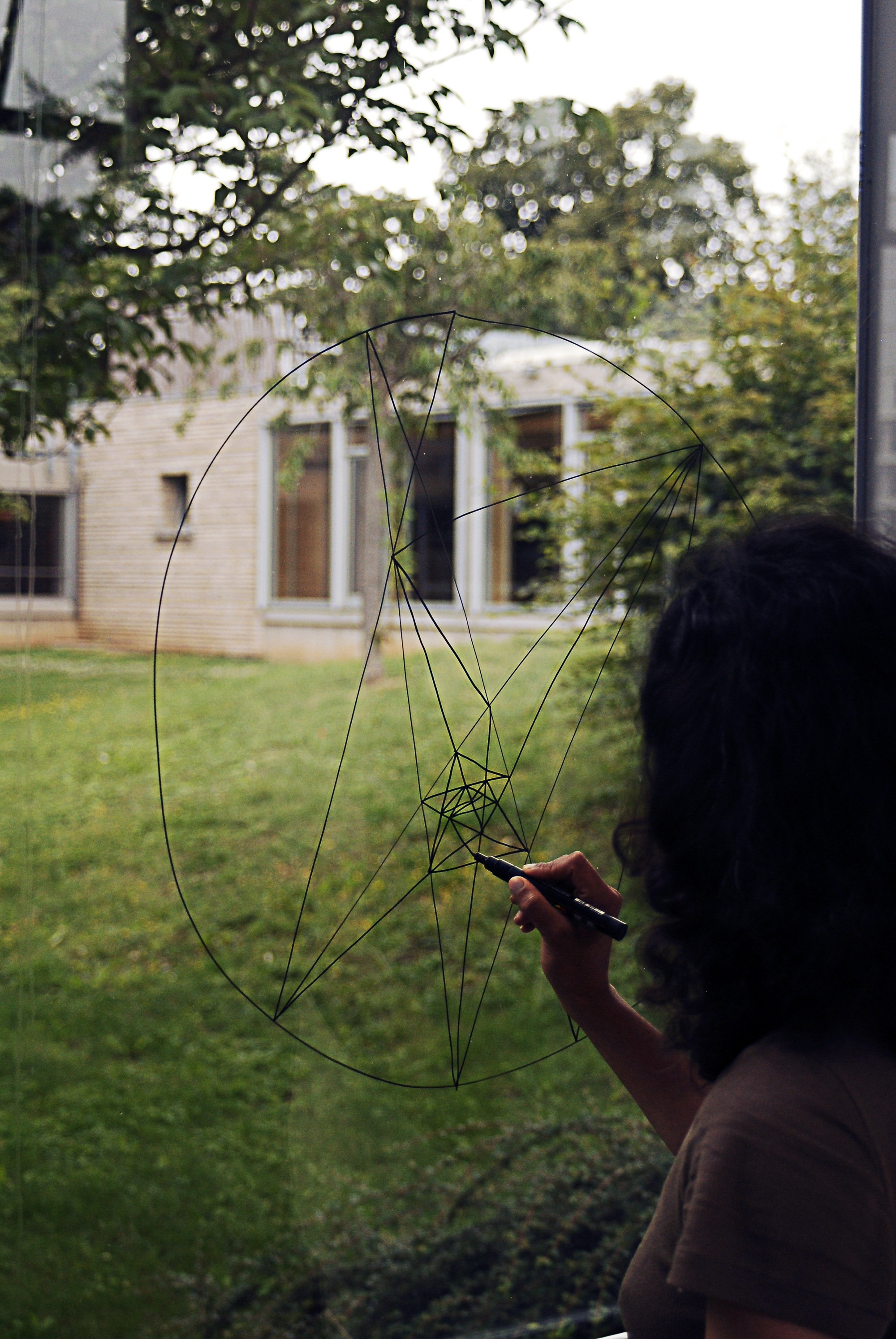 constellation, 2012, acrylic on glass, residence at HEC Paris