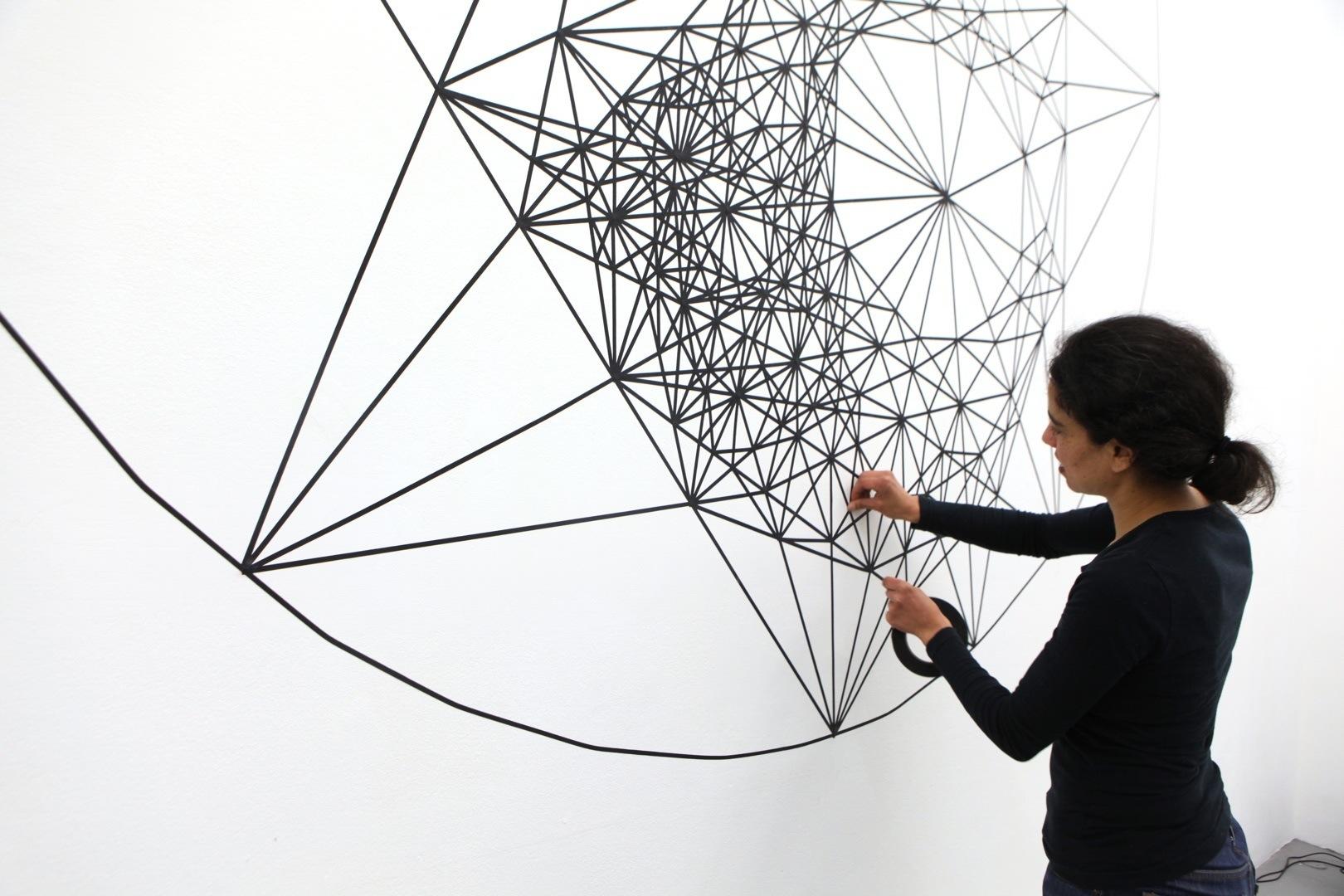 constellation, 2013, tape on wall, 400 x 300 cm, Espace YGREC, Paris