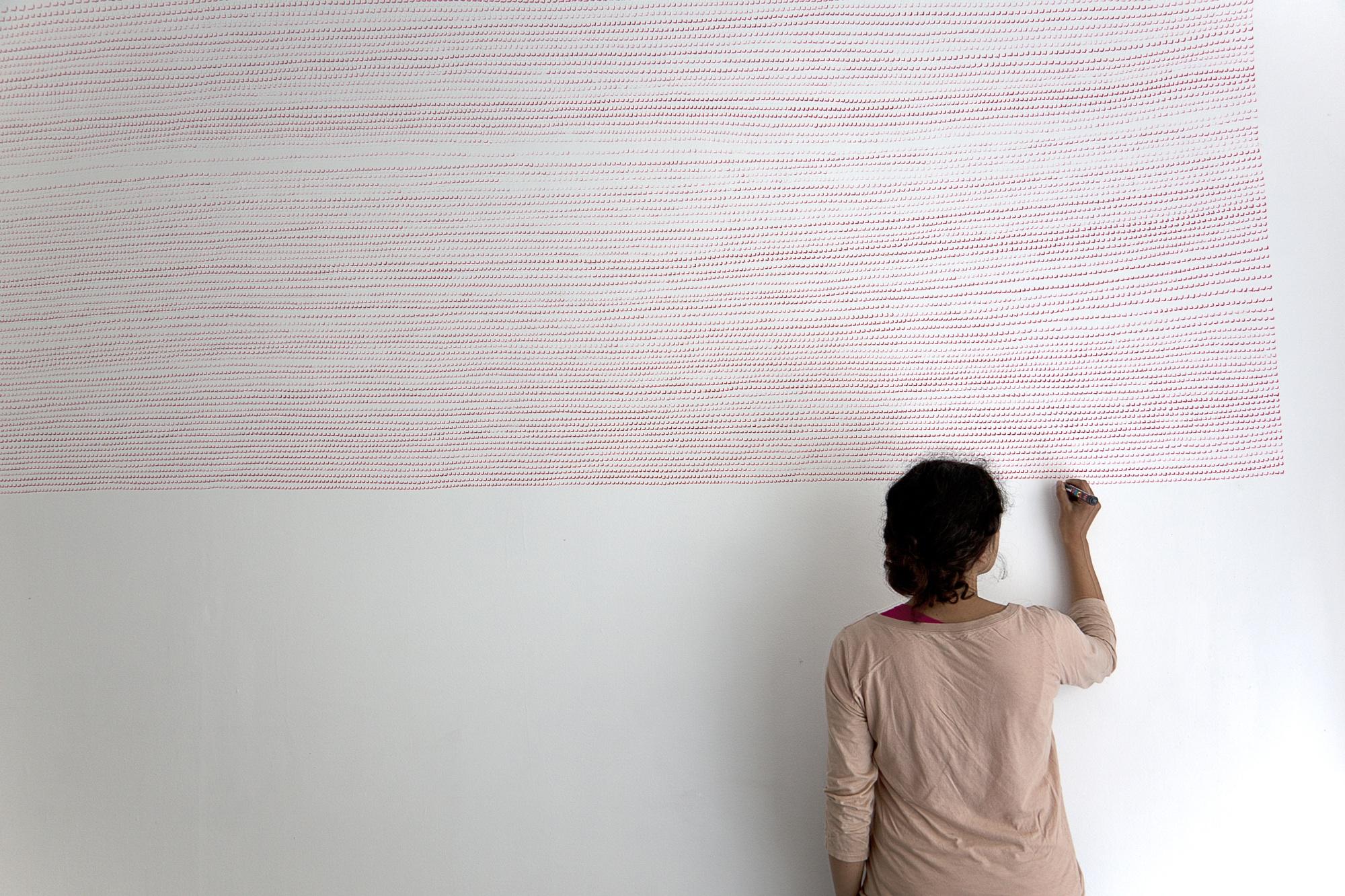wall drawing N°4, 2011, acrylic pen on wall, 180 x 380 cm
